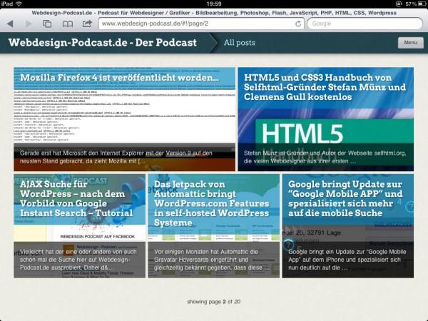 Screenshot Onswipe Plugin auf Webdesign-Podcast.de