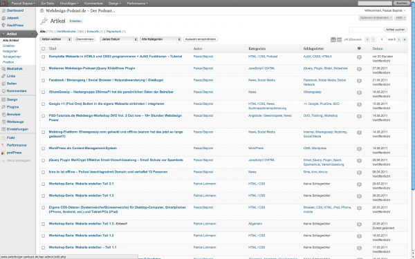 Wordpress 3.2 Backend