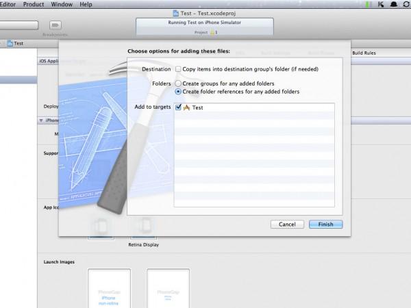 PhoneGap www Ordner anlegen - Create folder references for any added folders