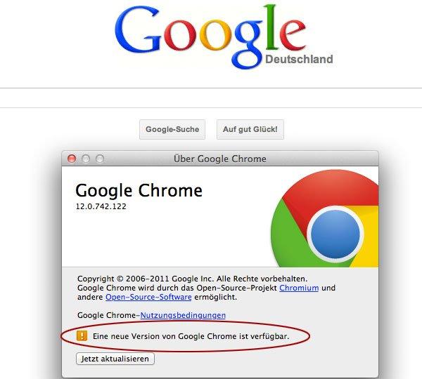 Google Chrome Update auf Version 13