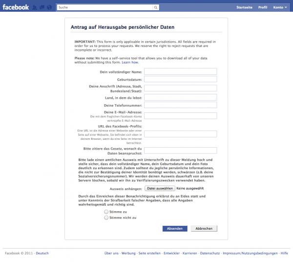 Facebook - Antrag auf Herausgabe persönlicher Daten