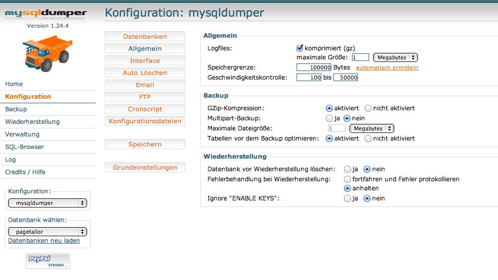 Mysqldumper Datenbank Backup Datensicherung Webseiten Sicherheit