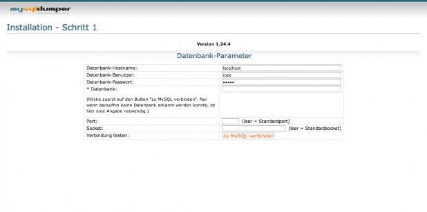 MySQLDumper Installation - Schritt 2