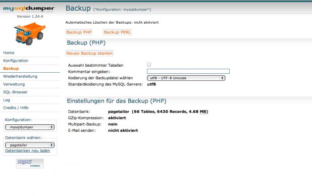 MySQLDumper - Backup