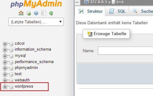 Datenbank Tabellen löschen