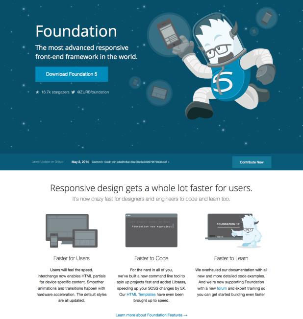 Foundation - Schlank und sehr beliebt für Mobile First Responsive Websites