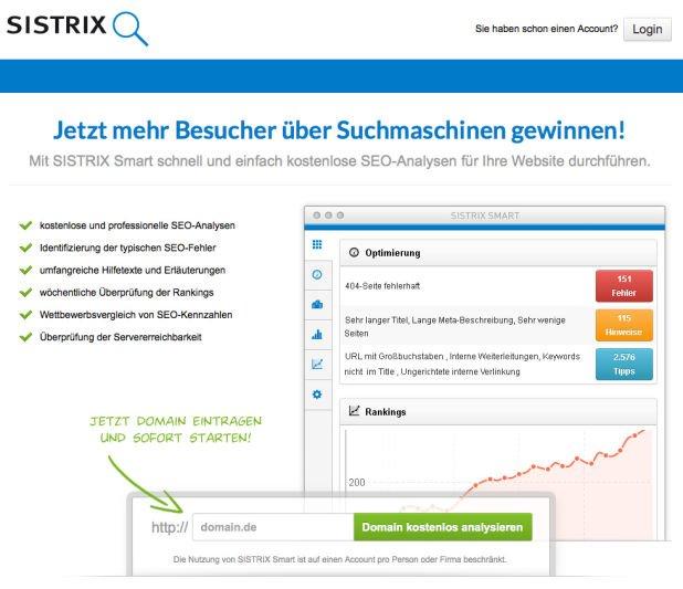 SISTRIX Smart - kostenlose SEO-Analyse und Website-Check