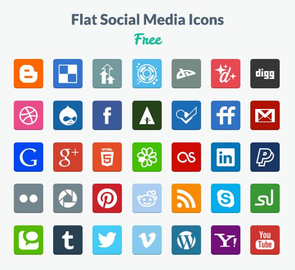 Flat Social-Media Icons (PNG & PSD) von designmodo.com