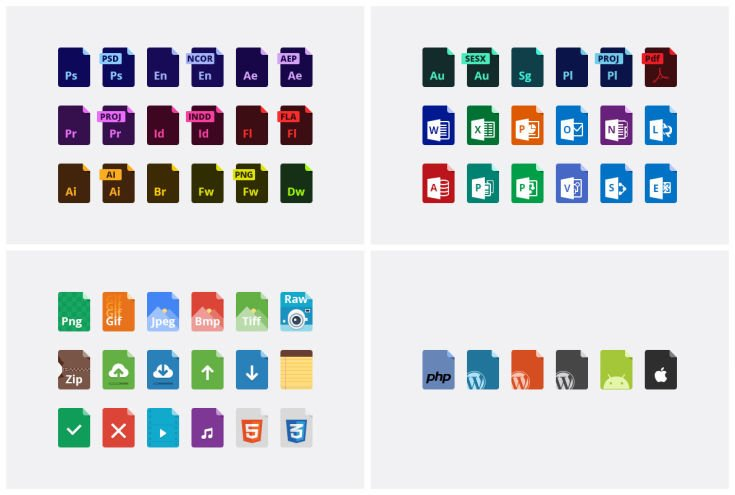 60 File-Type Icons von PSDBooster.com