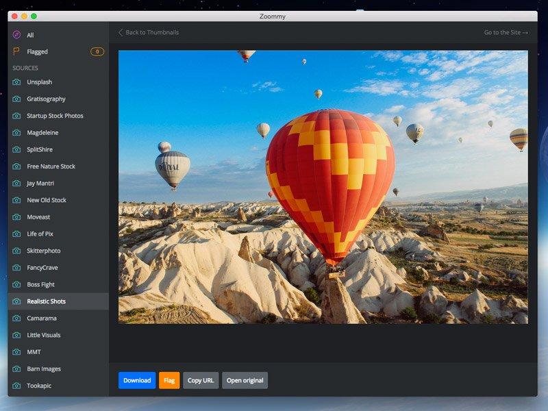 Detailansicht von Zoommy mit Download Button