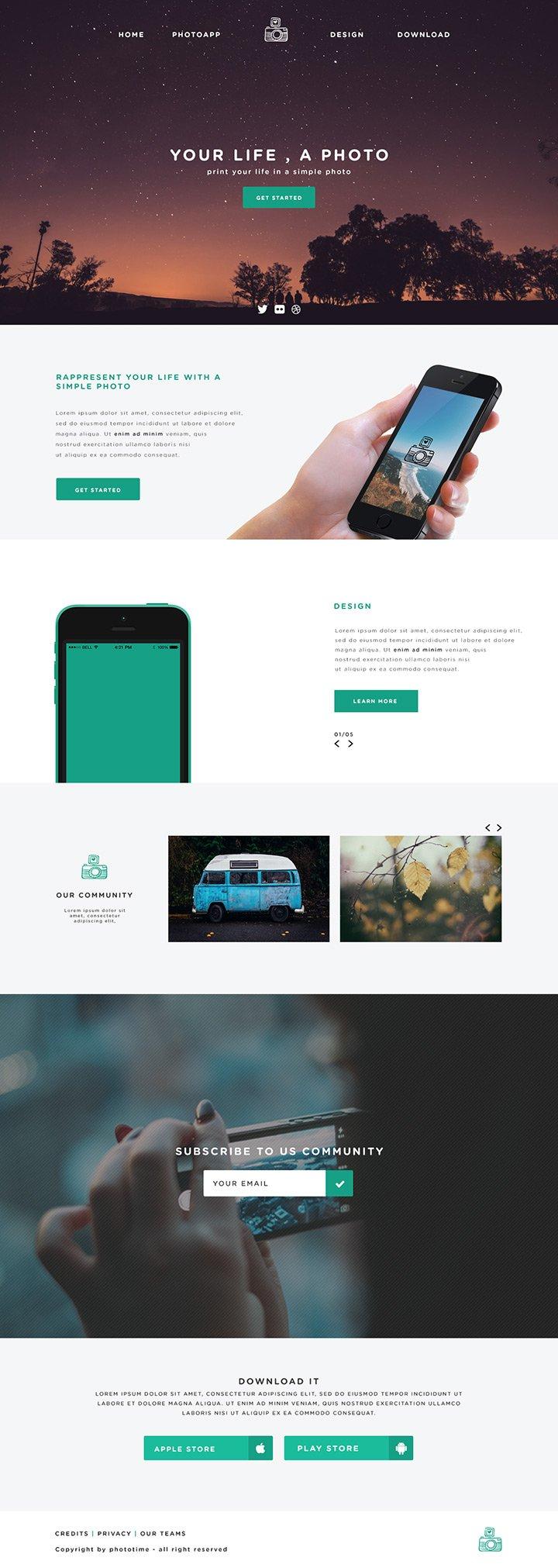 Website Mockup für App