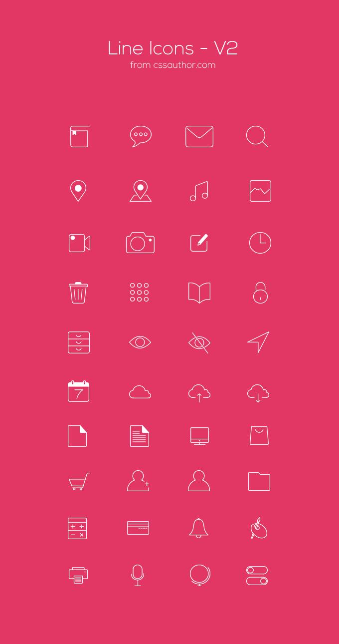40 Line-Icons für Webseiten und Software