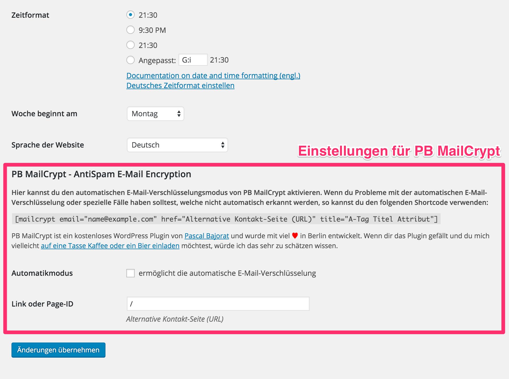 MailCrypt konfigurieren