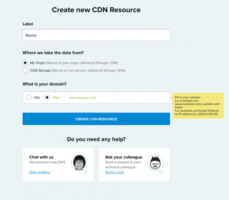 CDN77: Create new CDN Resource