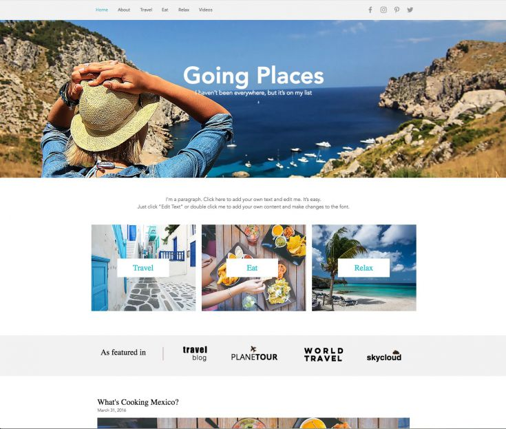 Blog-Vorlage: Reiseblog
