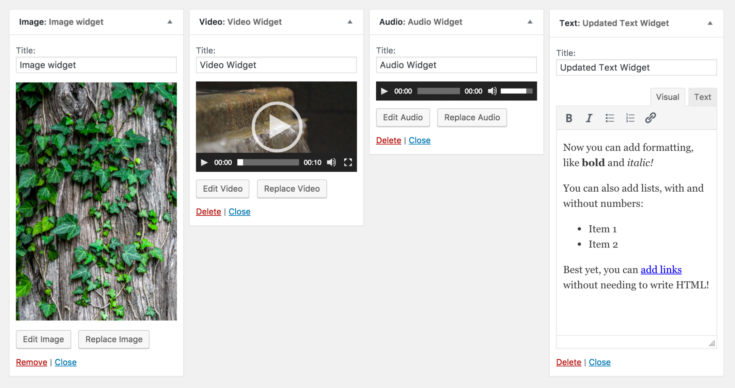 WordPress 4.8 - Neue Widgets